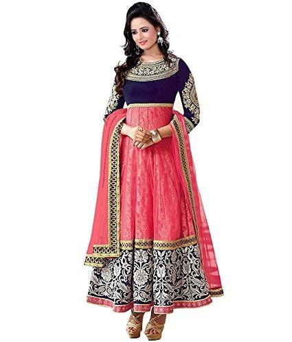 Silkone Women's Georgette Semi Stitched Anarkali Suit (Silk01117_Multi_X-Large)