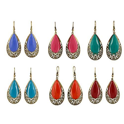 Zeneme Fashion Party Wear Multi-color Gold-Plated Combo Of 6 Dangler Earrings For Women