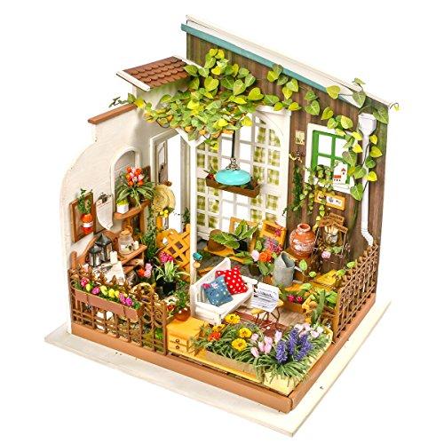 Robotime Garden House Miniature Building - Bricolage Greenroom avec des Meubles et Accessoires - Cadeau pour Les Filles