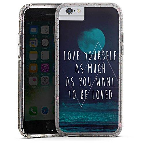 Apple iPhone 8 Bumper Hülle Bumper Case Glitzer Hülle Moon Mond Ocean Bumper Case Glitzer rose gold