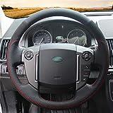 HCDSWSN Cuero Negro de Microfibra Funda del Volante del Coche de Gamuza Negra para Land Rover
