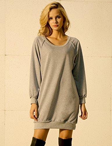 Nininour Robe Pull Sweat shirt Swag Manche Longue Col Rond Femme Gris
