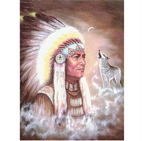 LuoMei 5D Runde Diamant Stickerei die Indianer und Wolf Diamant Malerei Kreuzstich Quadrat Bohrer Strass Mosaik Dekoration 30X40 cm, Runder Bohrer (Weihnachten Welt Rund Dekorationen Die Um)