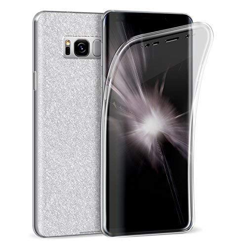 Zhinkarts Handy Hülle für Samsung Galaxy S8 - Full Body TPU Silikon Crystal Case - Komplett Schutzhülle Cover in Silber Clear/Rückseite Glitzer