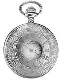 KS Reloj de Bolsillo con Cadena Hombres Vintage Reloj Colgante Cuarzo analógico Color Plateado KSP016