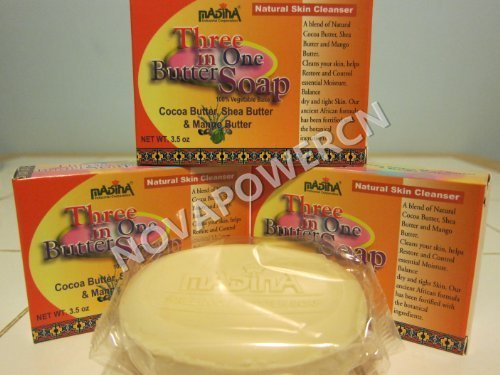 3 IN 1 Butter Soap Madina Cocoa, Shea, Mango Butter Moisture Dry Skin by Mayflower Products (Shea-butter Madina)