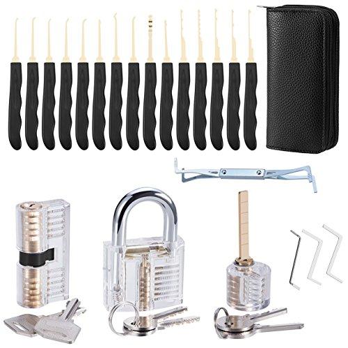 Lockpicking Lockpick Set, ASEL 24-Teiliges Dietrich Set mit 3 Transparentem Trainingsschlössern, Transparenter Vorhängeschloss Picking Tool-Kit Praxis Lock Set für Anfänger und Pro Schlosser -