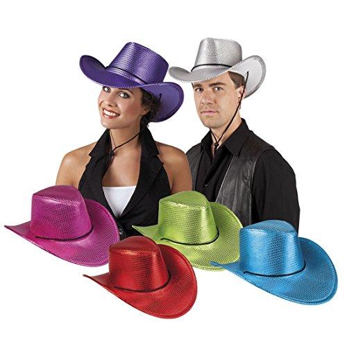 Faschingsfete Karnevalsaccessoire - Cowboyhut mit Pailletten, Violett