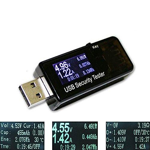 Blinkt Ecke (USB Multimeter QC2.0 QC3.0 Tester Strom(A) Spannung(V) Energie(Wh) Widerstand Kapazität(mAh) und Leistung(W) Zeit(Sekunden), Temperatur)