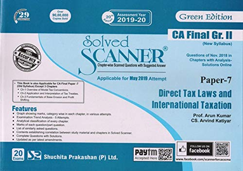 Solved Scanner CA Final Group-II (New Syllabus) Paper-7 Direct Tax Laws and International Taxation (Assessment Year 2019-20)