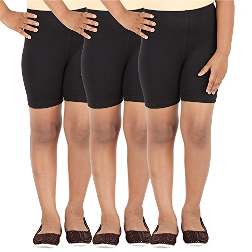 SCHOOL GIRL'S SPANDEX SHORTS PACK OF 3 (3-4 Years, Black)