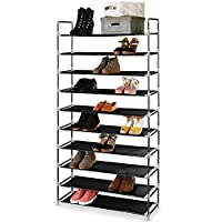 EVELYN LIVING 10 Tier Shoe Rack Organizer Heavy Duty Standing Storage for 50 Pairs of Shoes, Quick Assembly No Tools Required 86.5 x 28 x 163 cm (L x W x H) 1 YEAR WARRANTY