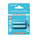 Panasonic eneloop lite, Ready-to-Use Ni-MH Akku, AA Mignon, 2er Pack, min. 950 mAh, 3000 Ladezyklen, geringe Selbstentladung