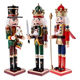 SM SunniMix 30 cm Holz Holz Nussknacker Soldaten Figuren Modell für Christbaumschmuck Dekoration