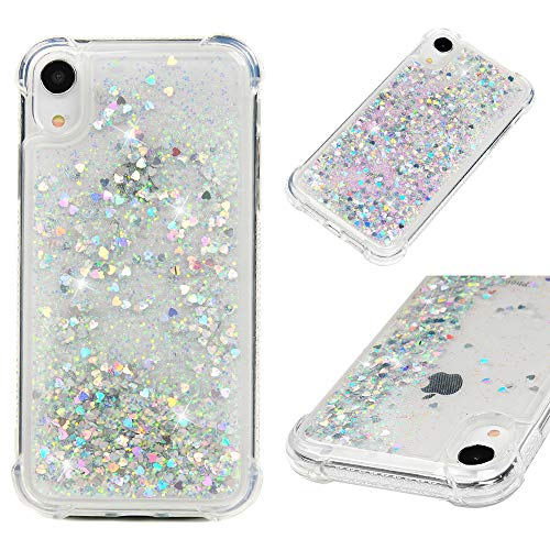 iPhone XR Hülle 6,1 Zoll Flüssige Glitzer Hülle Bling Glänzend Flowing Moving Love Hearts Cover Klar Ultral Slim Protective TPU Bumper Stoßfest Drop Resistant Quicksand Case für iPhone XR, Silber -