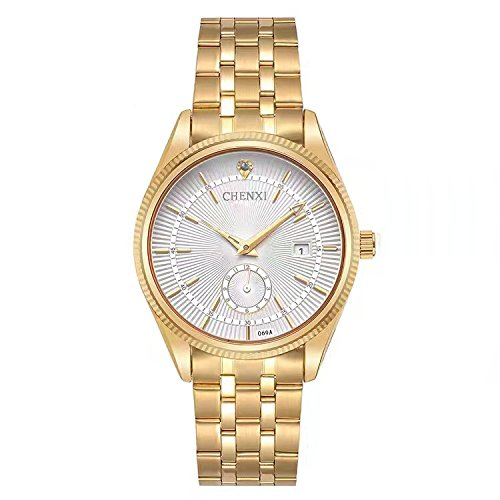 CHENXI Analog Quarzuhr - Herrenmode Luxus Gold Edelstahl Armbanduhr, Kalender Datum Display (Weiß)