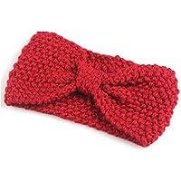 Fashion Crochet con fiocco, da donna, motivo: fiore invernale, lavorato a maglia, fascia per capelli, bandana, scalda orecchie