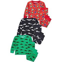 next Niños Pack De Tres Pijamas Cómodos Con Dinosaurios/Tiburones (9 Meses - 8 Años)