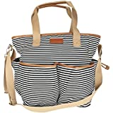 D-JEESIAN Black And White Stripe Canvas Diaper Bag Backpack With Matching Baby Changing Pad (black/white Striped)