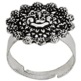 Efulgenz Indian Oxidised Silver Finish Round Adjustable Ring for for Girls and Women