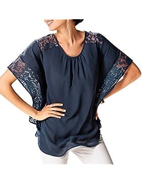 Blusa De Manga Corta Escote Redondo Camisa De Las Mujeres Camisetas Blusas