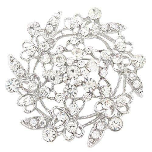 EVER FAITH® nuziale d'argento-tono Cuore Fiore filigrana austriaco della radura di cristallo Spilla (Tone Cuore Spilla)