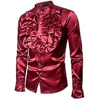 Yvelands Hombres Camisa de Seda Slim Fit de los Hombres Camiseta cómoda Top Blusa Dance Concert Party Fiesta de Navidad Cosplay de Halloween