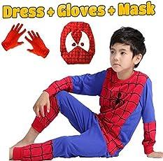 Fancy Steps Complete Spiderman Costume + Gloves + Mask Superhero Costume- 5 Years