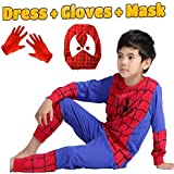Fancy Steps Complete Spiderman Costume + Gloves + Mask Superhero Costume- 3 Years