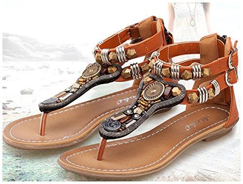 Fortuning's JDS annata Gladiator di vibrazione delle donne flop infradito sandali piatti Marrone
