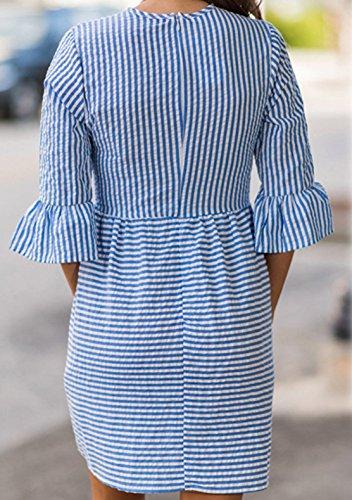 Donna Rotondo Collo Elegante Abiti a Righe Casuale Vestiti da Cerimonia Partito Dress Vestito Maniche 3/4 Sottile Swing Mini Abito Blu navy