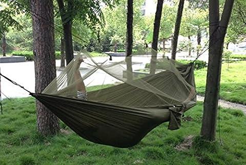 PsmGoods Portable Parachute Nylon Fabric Travel Camping Hammock (Arm Green Net) (Parachute Stoff Hammock)