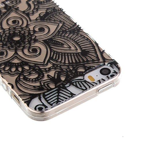 Ekakashop Transparente Flexible TPU Couqe pour Apple iPhone 5, Ultra Mince Doux Soft Silicone Protectrice Couverture Housse pour iPhone 5s, Motifs de Attrape Reve Cas Case Back Cover Defender Bumper É Noir Mandala Fleur