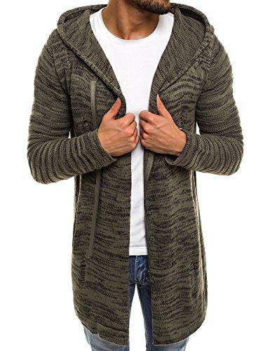 OZONEE Herren Kapuzenpullover Strickjacke Stricken Hoodie Sweatshirt Camouflage Assassin´s Sweatjacke Breezy B9027S GRÜN S