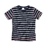wellyou, Kinder Kurzarm T-Shirt, dunkel-blau weiss, geringelt, für Jungen, 100% Baumwolle, Größe 80-86