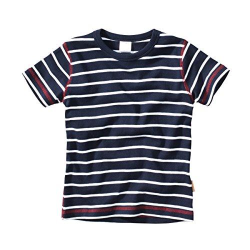 Blau Weiß Streifen Shirt (wellyou, Kinder Kurzarm T-Shirt, dunkel-blau Weiss, Geringelt, für Jungen, 100% Baumwolle, Größe 140-146)