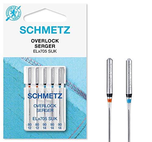 SCHMETZ Nähmaschinennadelset 5 Overlock-Nadeln | ELx705 | Nadeldicke: 2X 80/12, 3X 90/14 -
