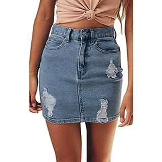 d98b0d6698c6 Rock damen Kolylong® Frauen Elegant Hohe Taille Jeans Rock Vintage  Destroyed Rock Denim Rock Kurz