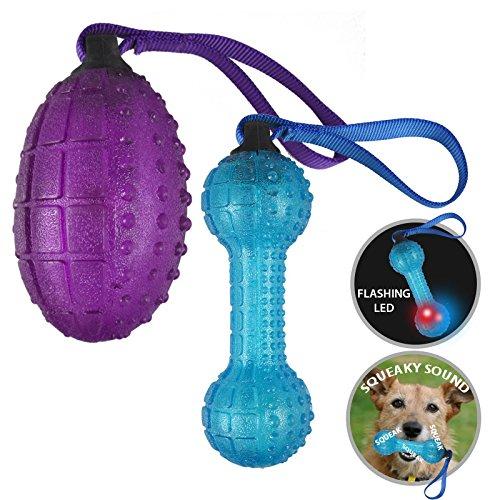 Asab Pet Hund quietschend Fetch Spielzeug für Langeweile blinkendem LED-Licht Play Interaktives Sound Werfen Spielzeug Granate Knochen Hantel Form–zufällige Farbe Granate-lampe