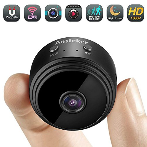 Mini Microcamere spia WiFi Ansteker Spy Camera Visore Notturno Cam 1080P Wireless Telecamera di Videosorveglianza di Sicurezza con Rilevamento del Movimento Live View Mobile per iPhone/Android