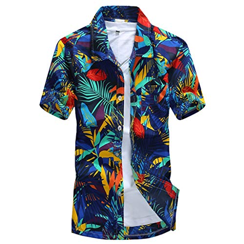 T Shirt Übergroßes Kostüm - MAYOGO Oversize Hawaii Hemd Männer Kurzarm Lose Feiertags Lässige Hawaiian Shirt for Men,Übergroße Herren Hawaiihemd Kostüm Oberteile Tops Palmen Beach Print