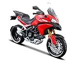 Maisto Ducati Multistrada 1200 MY 2010: Originalgetreues Motorradmodell, mit Federung, frei rollenden Rädern und extra Seitenständer, rot (531188)