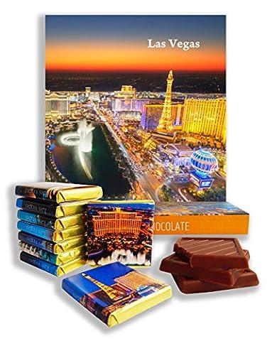 DA CHOCOLATE Cadeau de Chocolat LAS VEGAS CITY 13x13cm 9 carrés au chocolat (Nuit Prime)