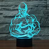 Man Fitness 3D ha condotto l'illusione ottica Smart Night Light , 7 colori che cambiano USB Power Touch Switch Decor Lampada Comodino Lampada da scrivania Brithday Regalo di Natale per bambini
