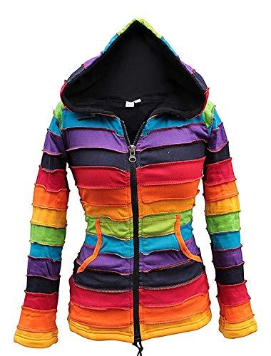 Chaqueta Shopoholic con forro polar y capucha, color arcoíris multicolor multicolor Small