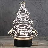 3D Nachtlicht LED Acryl Holzsockel USB Kreative Stereo Vision Tischlampe (Weihnachtsbaum)