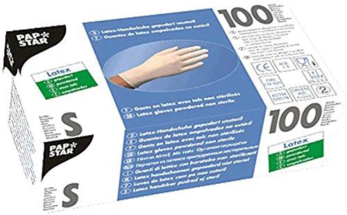 Preisvergleich Produktbild PAPSTAR 12228 Handschuhe Latex S, Inhalt 100 Stück, weiß