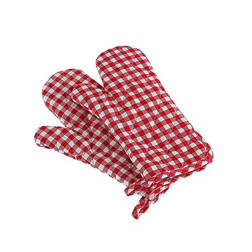Ofen Rutschfeste Isolierhandschuhe, Dickes Design Und Hohe Temperaturbeständigkeit, Geeignet Für Das Backen In Der Küche Backofen, Größe 33 * 19Cm, Rotes Gitter