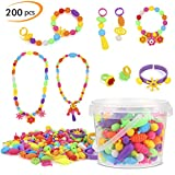 Phogary Pop Beads Set, 200 PCS Pop Snap Beads Arts and Crafts Toys Gifts for Kids Age 4yr-8yr, Jewellery Making Kit for 4, 5, 6, 7 Year Old Girls, Necklace and Bracelet and Ring Creativity DIY Set