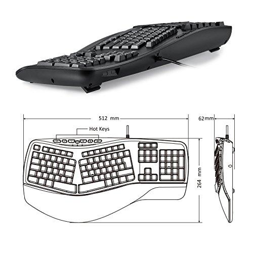 Perixx PERIBOARD-512 II Ergonomische Tastatur - Geteiltes Tastenfeld - USB - Empfohlen bei Tennisarm -QWERTZ Deutsches Layout - Schwarz - 4